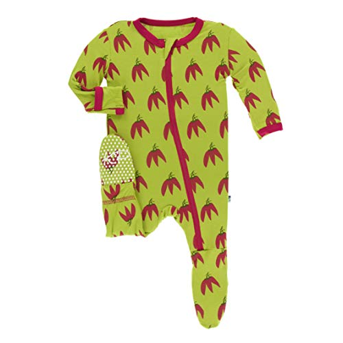 Kickee Pants Print Footie with Zipper (Meadow Chili Peppers - 4T)