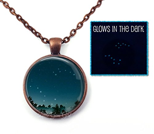 5 Different Finishes - Glow in the Dark Big Dipper Little Dipper Necklace or Key Chain - Choose from 2 Different Space Images in Purple or Blue & 5 Finishes - Astronomy Sci Fi Stars Space Glowing Nebula Pendant