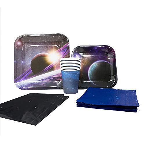 Blue Orchards Space Party Deluxe Party Packs (70 Pieces for 16 Guests!), Space Party Supplies, Galaxy Birthday ()