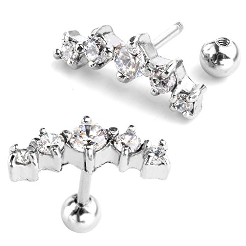 16 Curved Barbells Gem - Zysta 2pcs 16G Stainless Steel Clear Cubic Zirconia CZ Gem Crystal Curved Helix Cartilage Studs Tragus 1/4