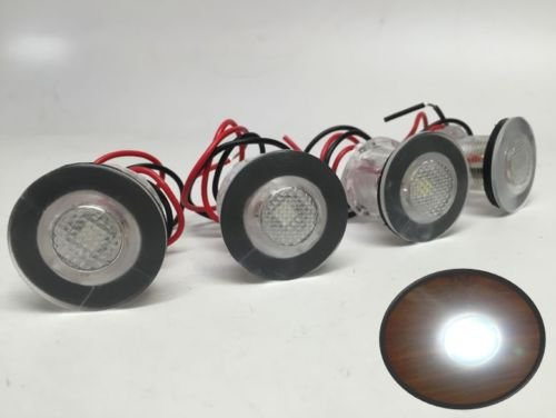 Pactrade Marine 4 Pieces Boat LED Livewell Round Button White Courtesy Light OEM Waterproof