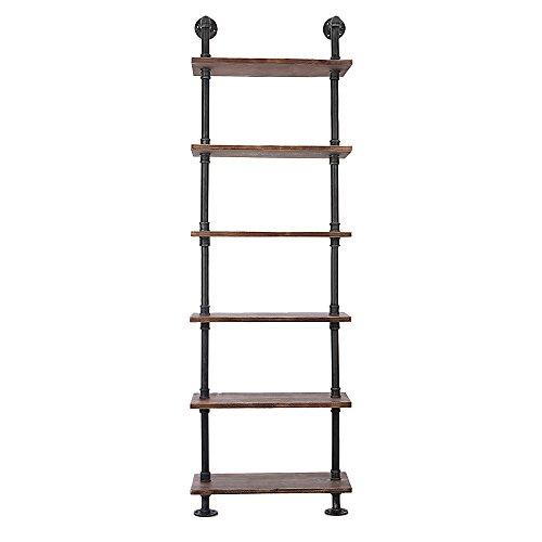 Cheap  iKayaa 6 Tier Rustic Industrial Ladder Wall Shelves W/ Wood Planks DIY..