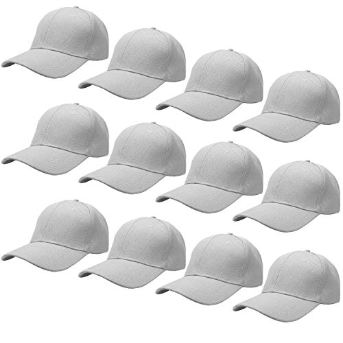 (12-Pack Bulk Sale Plain Baseball Cap Adjustable Size Solid Color)