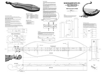 Hourglass Mountain Dulcimer Blueprint by Musicmakers