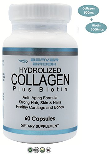 Beaver Brook Collagen Anti-Aging Formula Capsules Collagen 900mg + 5000 mcg Biotin - 60 Capsules