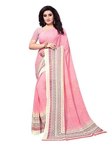 KANCHNAR Women's Pink Color Georgette Printed Saree with Unstitched Blouse-759S3 ()