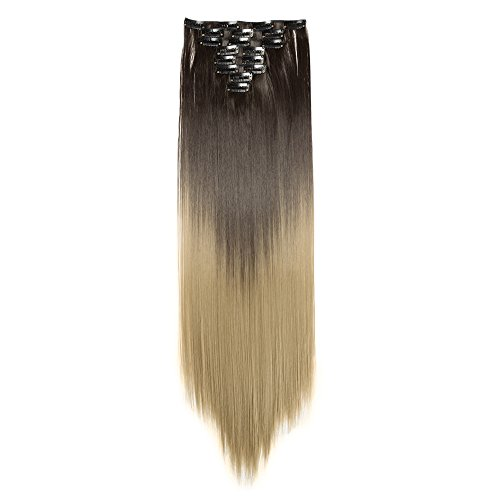Curly Wavy Clip in on 8 Pieces Full Head Set Hair Extensions 8pcs Hairpiece Extension Many Colors for Girl Lady Women (26inches-straight, Dark Black to Ash Blonde) ()