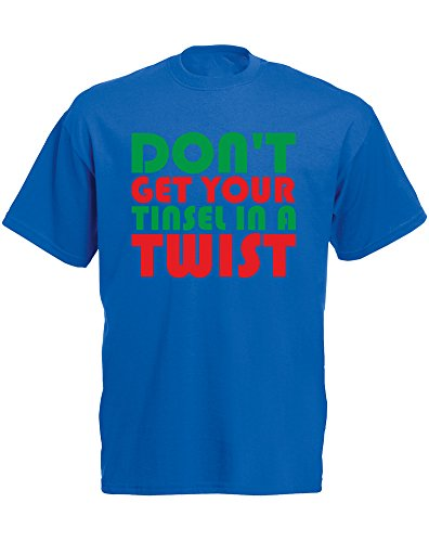 Don't Get Your Tinsel In A Twist, Mens Printed T-Shirt - Royal Blue/Green/Red 2XL (Tinsel Twist)