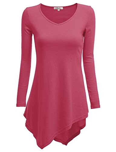 Curvylicious Women's Plus Size 3/4 Sleeve Round Neck Tunic Top – XX-Large, HotPink