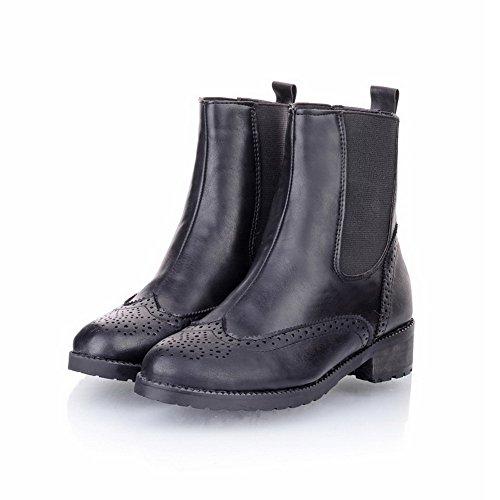 Amoonyfashion Mujeres Cerrado Punta Redonda Low Heels Pu Sólido Short Plush Botas Con Hollow Out Black