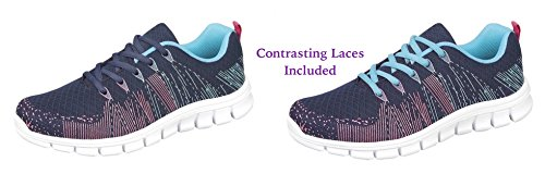 Trainer Contrasting Extra Fuchsia Shoe Comfort Memory Laces Insoles up Navy amp; Lightweight Matching Foam Comfort Dek Plus Superlight with ® Sole Mint Lace Included wgpUvWxIfq