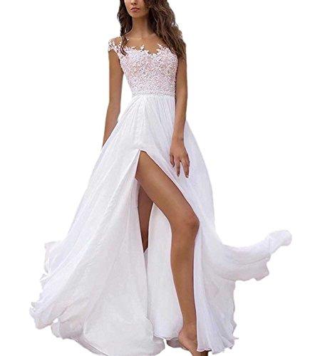 Damen Lang Hochzeitskleider Brautmode Spitze Weiß Elegant Beyonddress Elegante Brautkleider Abendkleider Chiffon d1dxC