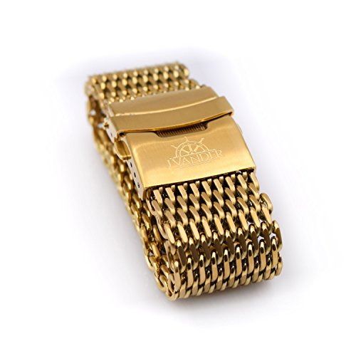 J.VANDER 18mm Brushed Gold Stainless Steel Shark Mesh Dive Watch Band Strap Thick - Premium Clasp - Extra Long (Killer Shark Strap)