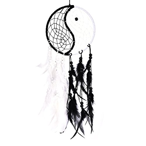 Buytra Handmade Yin Yang Dream Catcher Circular Net with Feathers Beads for Wall Car Hanging Decoration Ornament Craft Gift, Black and White