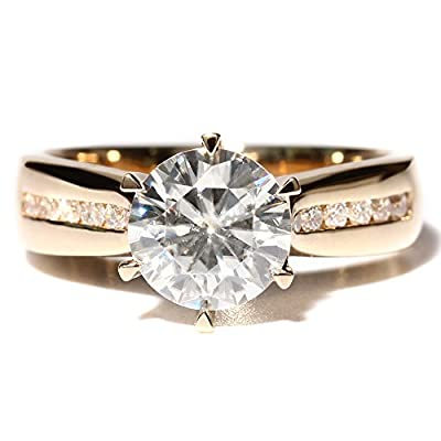TransGems 2CT White Colorless Moissanite Lab Diamond Wedding Ring with Diamond Acccents 14K Yellow Gold