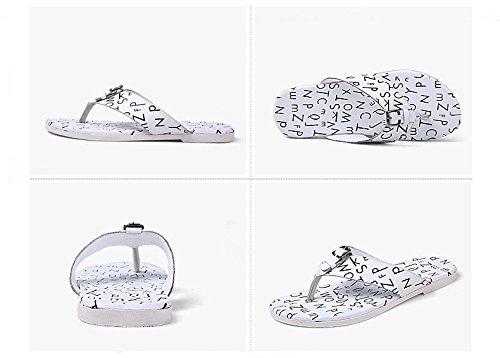 Summer Trend Flip flops Sandali freddi Ventilazione Scarpe da beachwear, Bianco, UK = 9, EU = 43 1/3
