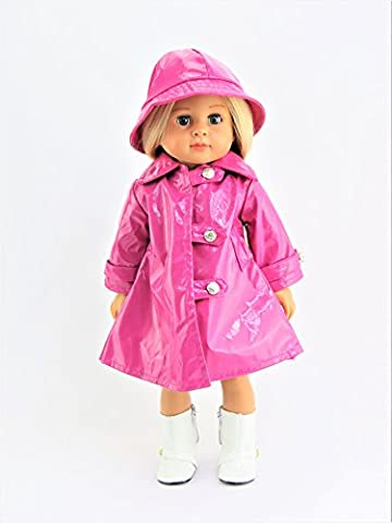 Magenta Rain Coat with Hat - Rainboots & Doll NOT INCLUDED - Fits 18