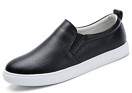(TSIODFO Women Slip on Loafers Flat Platform Breathable Comfort Walking Shoes Genuine Cow Leather Fashion Sneakers Youth Big Girls Spring Autumn Ladies Casual Oxford Shoes Black 8 (505-Black-39))