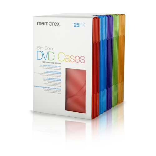 Memorex Cool Color Slim DVD Storage Cases 25PK
