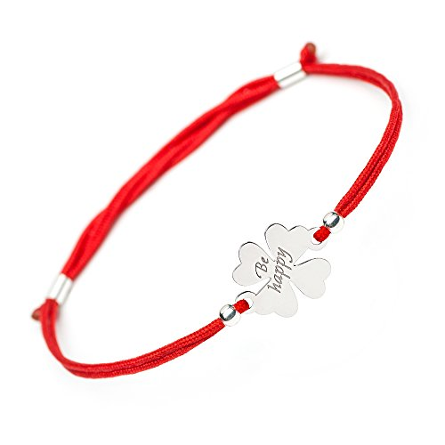 Lucky Handmade Good Luck Bracelet - 4 Leaf Clover Flower Sterling Silver Charm Be Happy Engraved - Adjustable Friendship Inspirational Red String Evil Eye Protection Bracelets for Girls Womens Kids by Solomiya Jewelry Line