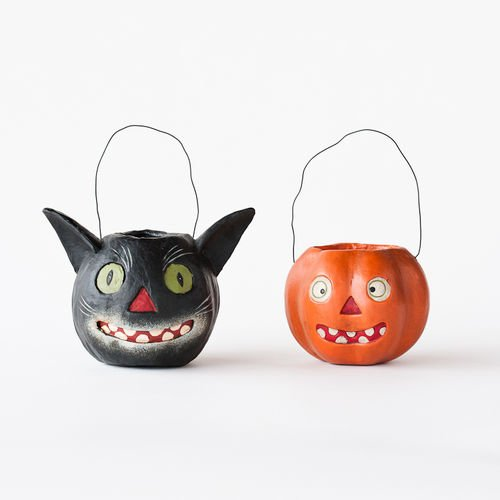 Halloween Vintage-style Black Cat and Jack O Lantern Small Candy Buckets (Halloween De Mister Jack)