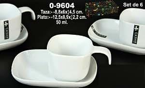 DonRegaloWeb - Set de 6 tazas de café con plato de cerámica en color blanco. Medidas de la taza: 8,8 x 6 x4,5 y 50 ml de capacidad. Medidas del plato: 12,5 x 8,9 cm x 2,2 cm