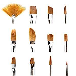 BeeChamp 12pcs Nylon Hair Paint Brush Set Artist Watercolor Acrylic Oil Painting Supplies