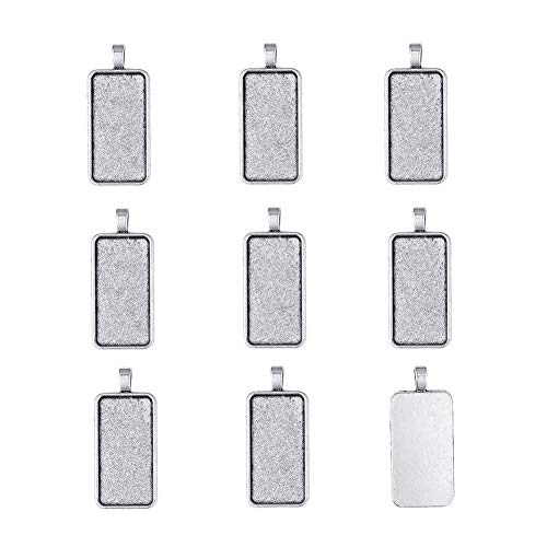 Pandahall 10pcs Antique Silver Rectangle Pendant Tray Blank Bezel Settings Clear Covers for Clear Glass Cabochon Tray: 38x19mm/1.5x0.75inch