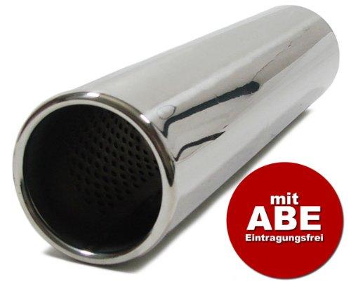 Absorber mit ABE Carparts-Online 13683 Edelstahl Endrohr rund 76mm