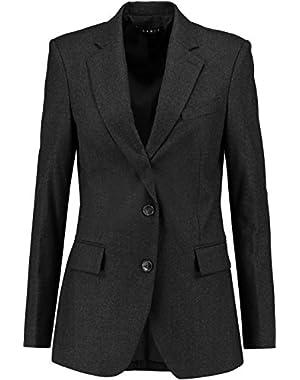 Theory Botabel Wool-Flannel Blazer Jacket, Dark Charcoal Grey - Size 0