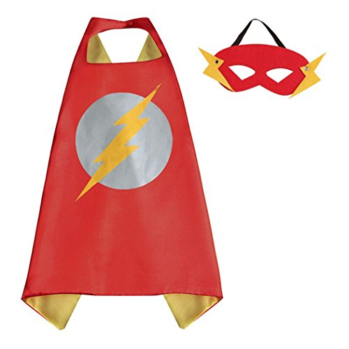Girl For Flash Costume (Flash Superhero Capes Costumes with Masks for Kids, Girls & Boys Halloween, Birthdays Party Favors, Dress Up &)