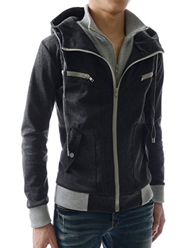 f8023d59c8fd16 LCJ10 TheLees Mens Casual Slim Fit Hoodies Cotton Long sleeve solid Jacket  outlet