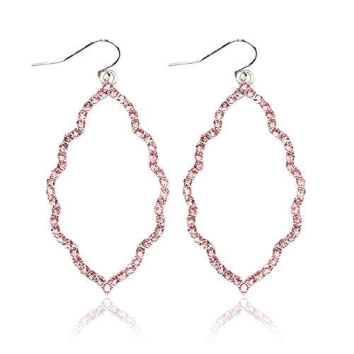 Sparkly Cubic Rhinestone Geometric Lightweight Open Hoop Earrings - Cut-Out Drop Dangles Scalloped, Moroccan Floral, Quatrefoil Clover, Kite (Moroccan - Silver Pink)