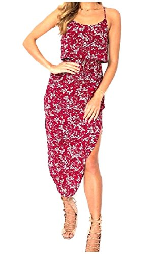 As3 Backless Coolred Loose Printing Women Summer Dresses Sling Irregular xY8wFTZW18