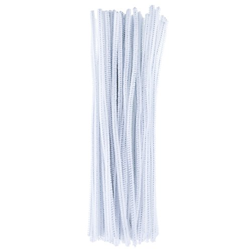 White Chenille Craft Stems - eBoot 100 Pieces Pipe Cleaners Chenille Stem for Arts and Crafts, 6 x 300 mm (White)