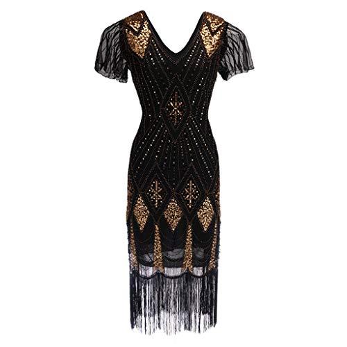 Womens Retro Sequin 1920s Inspired Sequins Beaded Long Tassel Inserts Dress