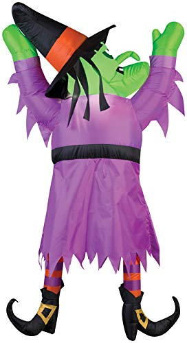 Gemmy Halloween Inflatable 5' LED Hanging Witch, Purple, One Size
