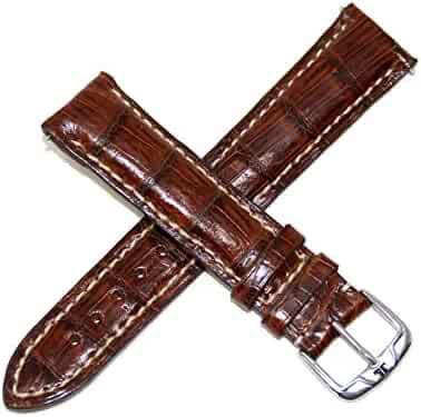 Jacques Lemans 20MM Genuine Crocodile Leather Skin Watch Strap Brown with Silver JL Initial Stainless Steel Buckle