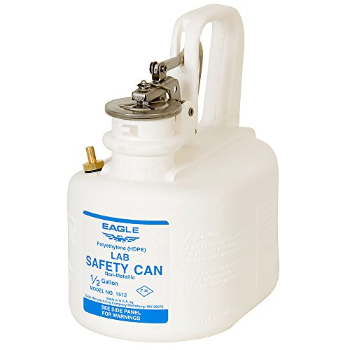Eagle Non-Metallic Type I Safety Can - 9-1/4''H - 2-Quart Capacity- Oval Cans - Corrosive White - Corrosive White - 9-1/4''H by Eagle