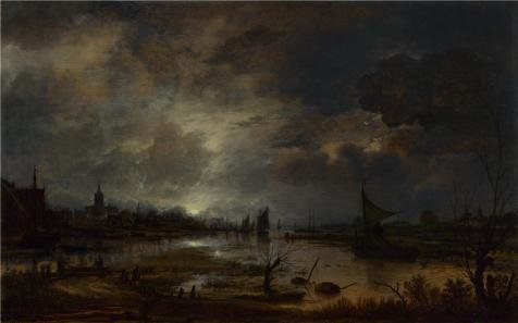 'Aert Van Der Neer - A River Near A Town, By Moonlight,about 1645' Oil Painting, 24x38 Inch / 61x98 Cm ,printed On High Quality Polyster Canvas ,this Replica Art DecorativeCanvas Prints Is Perfectly Suitalbe For Nursery Decor And Home Decor And Gifts - Long Moonlight Wig