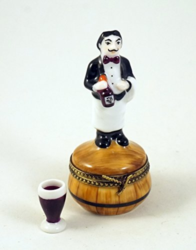 - Authentic French Porcelain Hand Painted Limoges box French Sommelier Wine Waiter and a Miniature Porcelain Removable Wine Glass