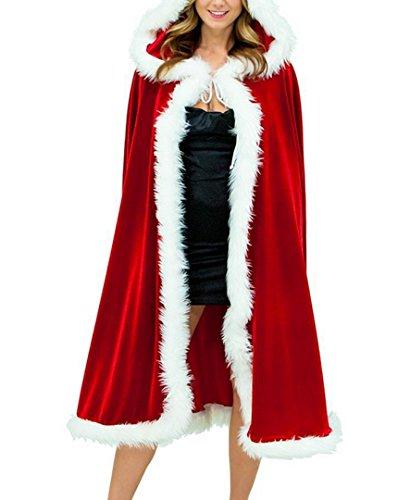 Deluxe Mrs Santa Costume (Women's Full Length Christmas Cloak Deluxe Velet Mrs Santa Hooded Cape Costume L)