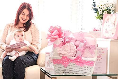 Luxury Newborn Hamper New Baby Girl Hamper Basket Gifts Hampers Girls Baby Shower New Born Baby Hamper Baskets Pink Gift Set Nappy Cake Presents for Newborns Essentials Bundle Present Sets for Mum