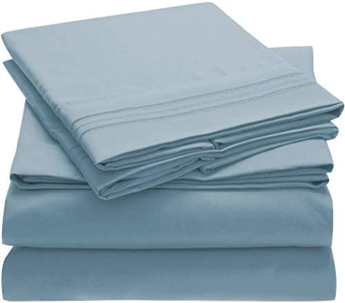 Mellanni Bed Sheet Set - Brushed Microfiber 1800 Bedding - Wrinkle, Fade, Stain Resistant - 4 Piece (Queen, Blue Hydrangea)