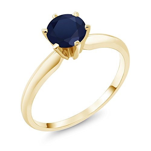 Gem Stone King 14K Yellow Gold Blue Sapphire Women's Engagement Solitaire Ring 1.00 Ct (Size 6)