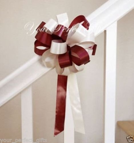 8'' BURGUNDY RED IVORY WEDDING PEW BOW BRIDAL DECORATION