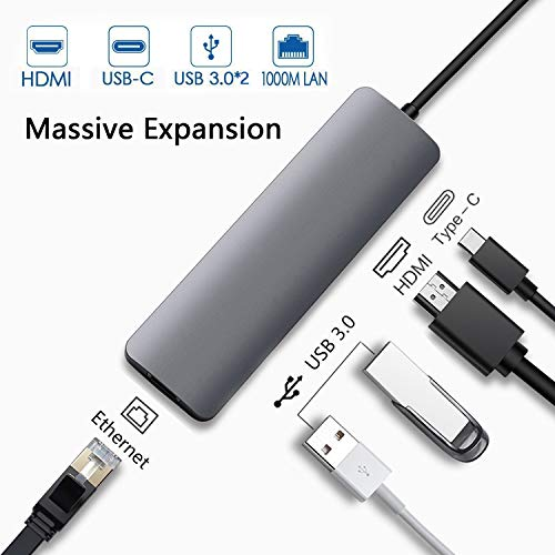 USB C to HDMI Multiport Hub Adapter, Type-c Thunderbolt 3 Adapter for Apple iPad Pro 2018, MacBook Pro, MacBook Air 2018,MacBook Pro 2018,2017,2016,with HDMI 4K,Gigabit Ethernet,2 USB 3.0,PD Charging