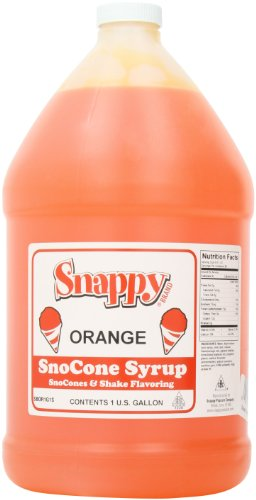 Snappy Popcorn Snappy Snow Cone Syrup 1 Gallon, Orange, 11 ()