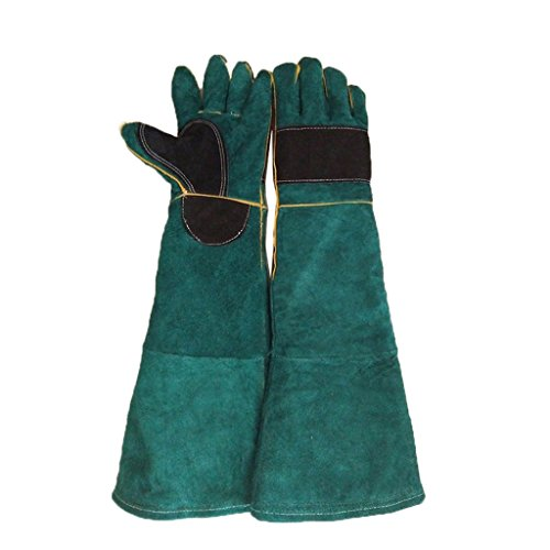 (Gauntlet Gloves Thickened Pruning Animal Handling Scratch Bite Resistant for Men and Women, Available in 2 Colors, 1 Pair, (Color : B))