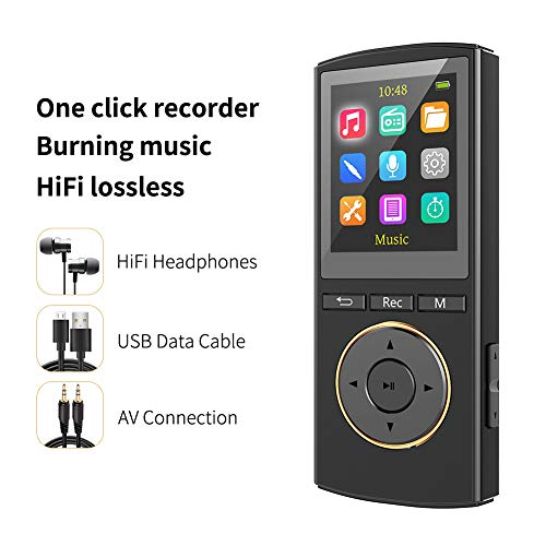 MUS RUN MP3 Player,Portable MP3 Players with Burning Music Function,FM Radio,One-Click Voice Recorder,Supports 128GB TF Card,Simple Interface,HIFI Sound Lossless Digital Audio Player by Mus Run(Black)